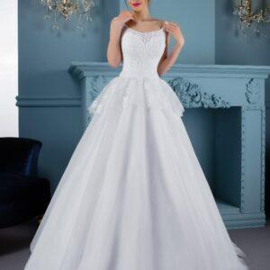 Zárt, csipke és tüll menyasszonyi ruha