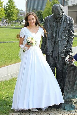 Világos kék, chiffon menyasszonyi ruha 1