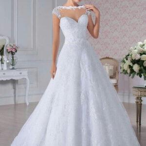 A-vonalú, felül zárt csipke esküvői ruha