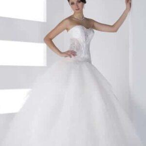 Áttetsző, tépett tüll esküvői ruha