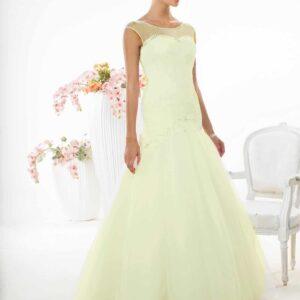Ekrü, szatén, zárt esküvői ruha, tüllel