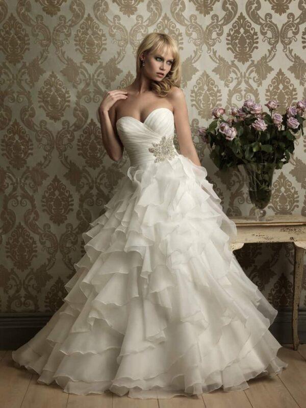 Fodros, organza, Báli fazonú menyasszonyi ruha, kristály díszítéssel