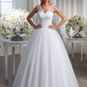 Tüll vállpántos, A-vonalú esküvői ruha