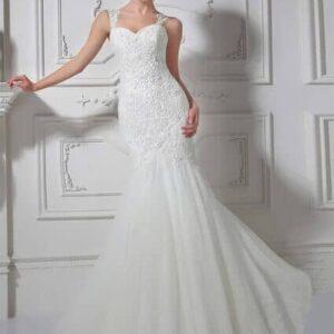 Vállpántos, sellő fazonú menyasszonyi ruha, kristály díszítéssel