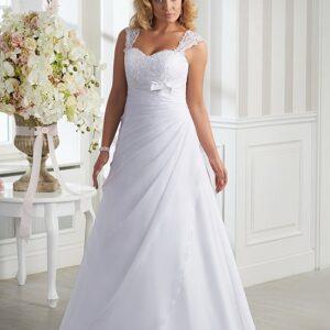 Vállpántos, chiffon esküvői ruha
