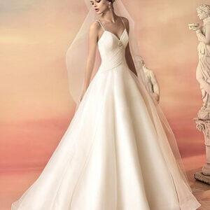 Tört fehér, A-vonalú organza esküvői ruha