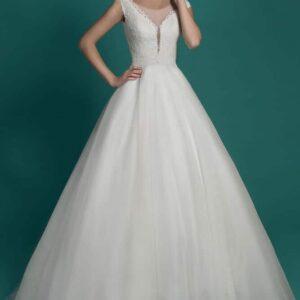 Vállpántos, zárt esküvői ruha