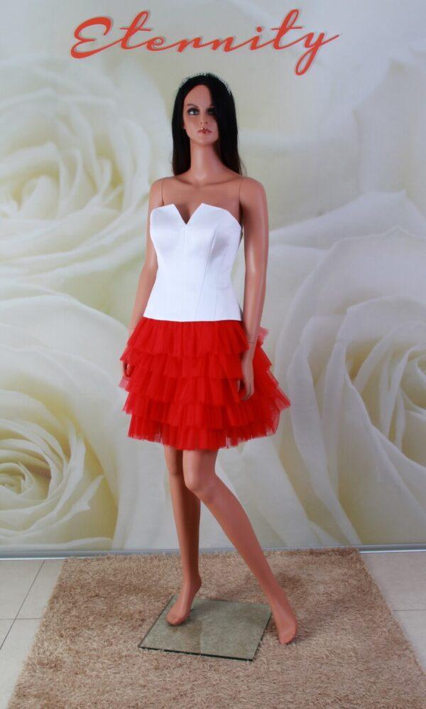 2 részes, fehér míderes, piros tütüs alkalmi ruha, menyecske ruha