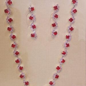 Piros menyasszonyi nyaklánc és fülbevaló
