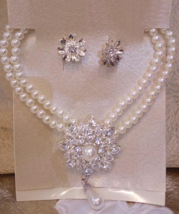 Gyöngy és kristályos menyasszonyi ékszerszett