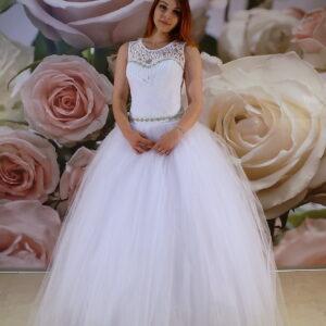 Zárt, kristályos szalagavató ruha, báli ruha