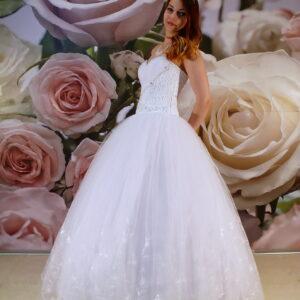 Csipke díszítésű, szalagavató ruha, báli ruha