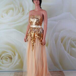 Arany, flitteres, egyenes alkalmi ruha, koszorúslány ruha