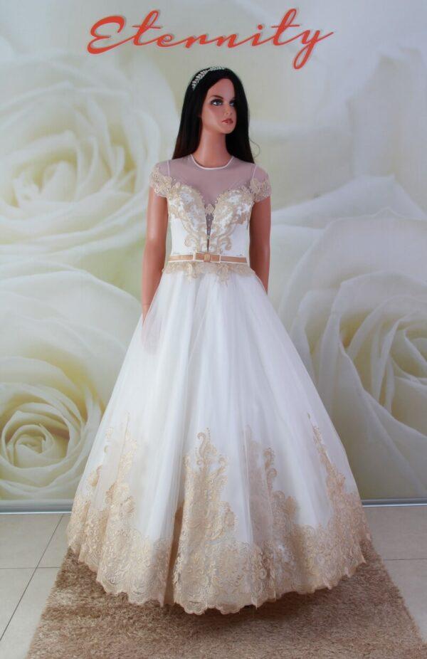 Arany fehér, tüll menyasszonyi ruha, alkalmi ruha