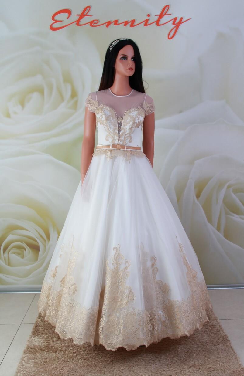 c87a8dae9c Arany fehér, tüll menyasszonyi ruha, alkalmi ruha