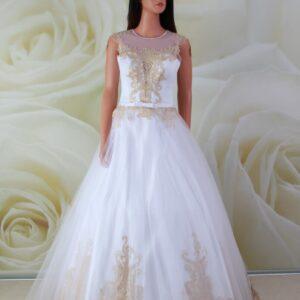 Arany, A-vonalú alkalmi ruha, menyasszonyi ruha