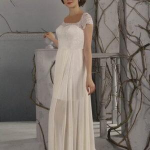 Egyenes, tört fehér, csipke és chiffon alkalmi ruha, menyasszonyi ruha