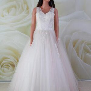 Rózsaszín, vállpántos, alkalmi ruha, menyasszonyi ruha