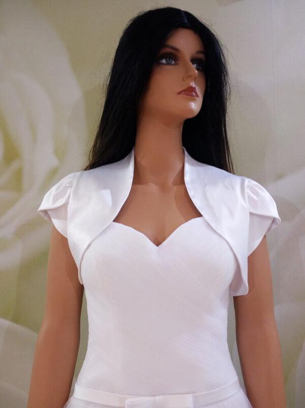 Fehér, selyemszatén menyasszonyi bolero
