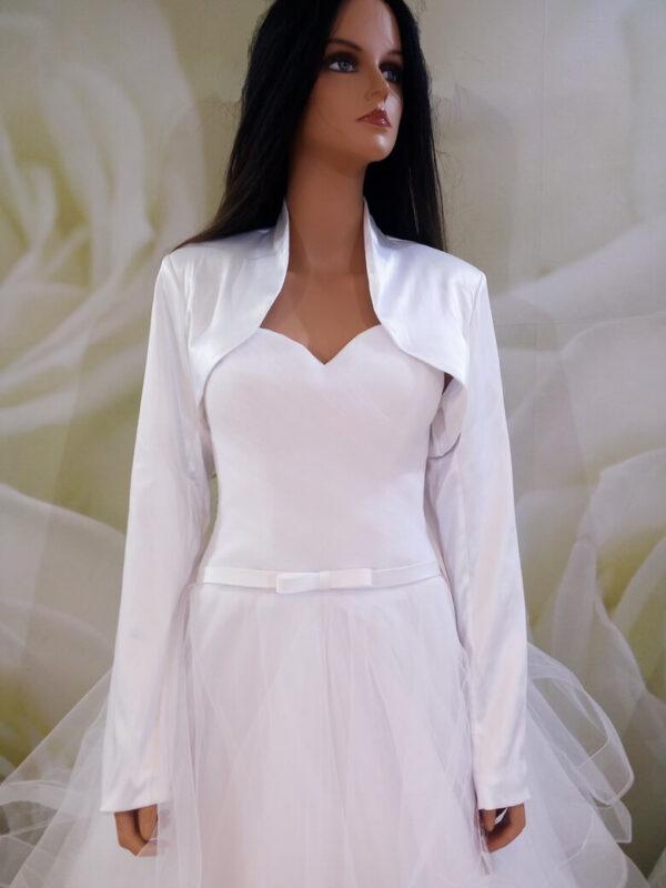 Fehér, tört fehér hosszú ujjas, selyemszatén menyasszonyi boleró
