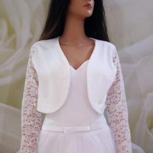 Tört fehér, hosszú csipke ujjas menyasszonyi boleró