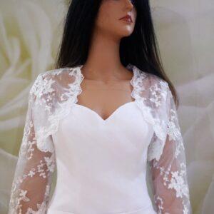 Fehér, háromnegyedes ujjú csipke menyasszonyi boleró