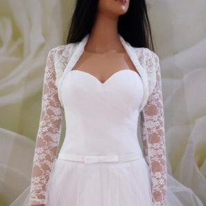 Tört fehér, hosszú ujjas, csipke menyasszonyi boleró