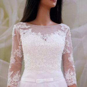Tört fehér, elöl zárt menyasszonyi boleró
