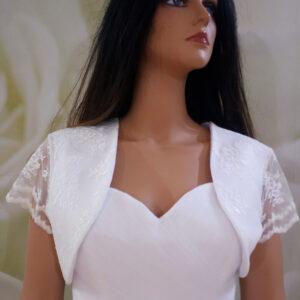 Fehér, csipke ujjas menyasszonyi bolero