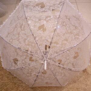 Nejlon, csipke mintás menyasszonyi esernyő