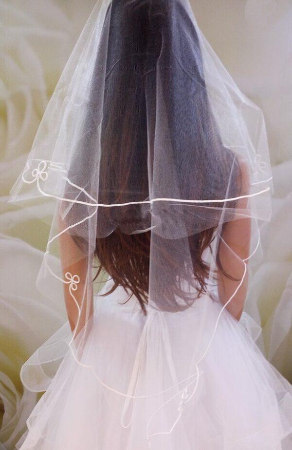 2 rétegű tört fehér menyasszonyi fátyol