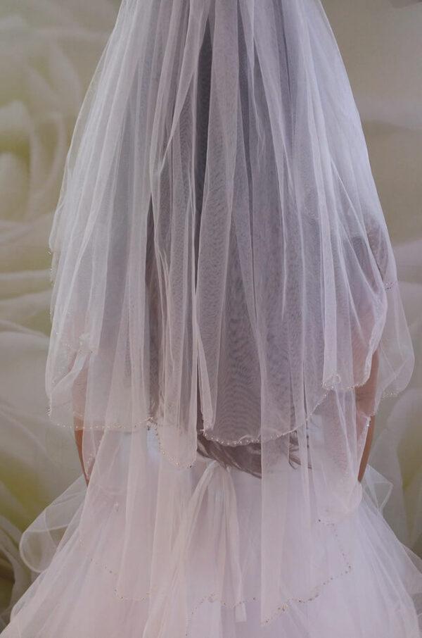 2 rétegű kristályos tüll menyasszonyi fátyol