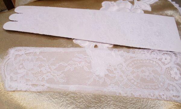 Fehér csipkés menyasszonyi kesztyű