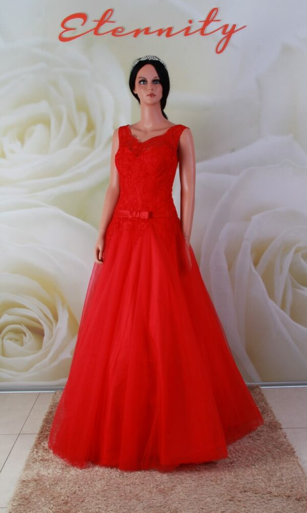 Piros, A-vonalú menyecske ruha, alkalmi ruha