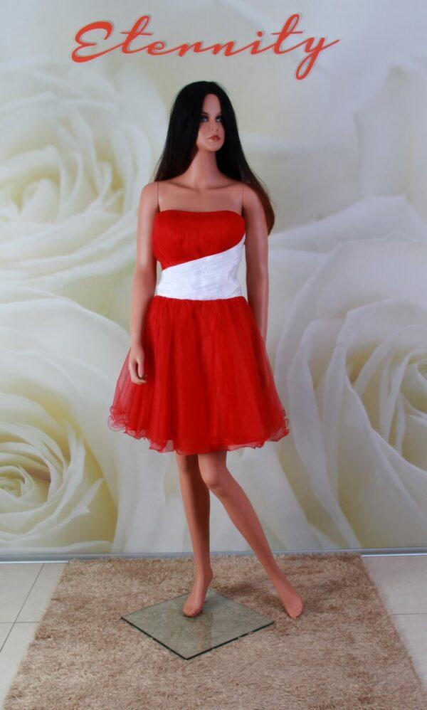 Piros, és fehér tüll alkalmi ruha, menyecske ruha