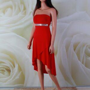 Piros, elöl rövid hátul hosszú pamut menyecske, alkalmi ruha