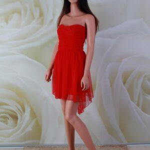 Piros high-low tüll alkalmi ruha, menyecske ruha