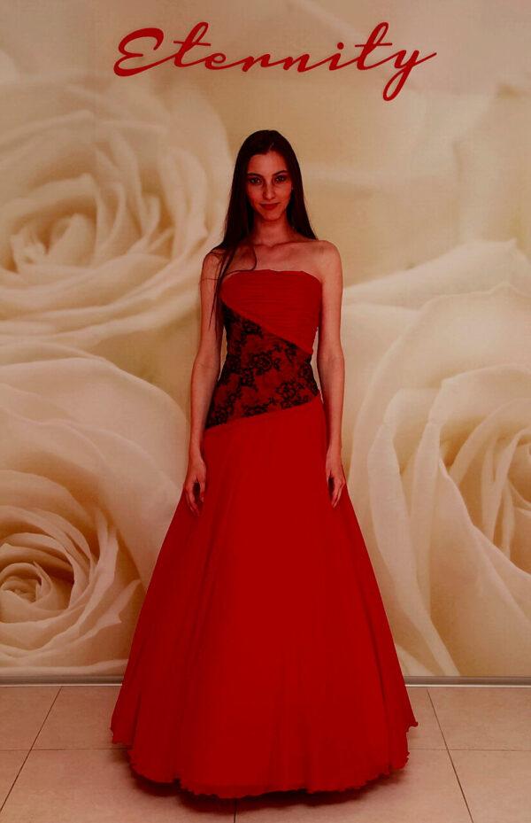 Piros, hoszzú A-vonalú alkalmi ruha, menyecske ruha