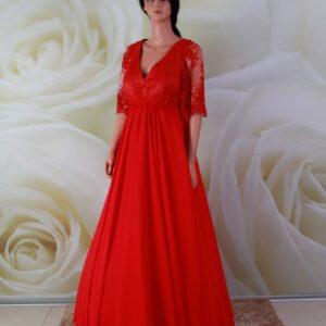 Piros, csipke és chiffon alkalmi ruha, menyecske ruha