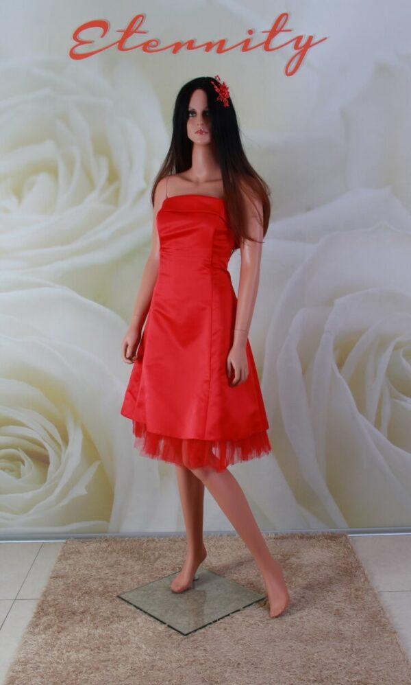 Piros, tüll és szatén alkalmi ruha, menyecske ruha