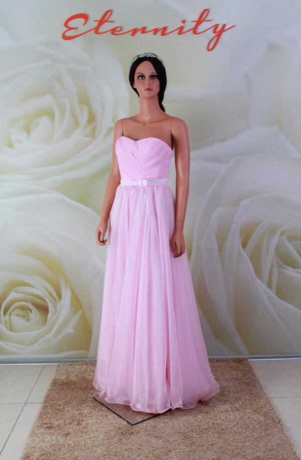 Rózsaszín, egyenes chiffon alkalmi ruha, koszorúslány ruha masnival