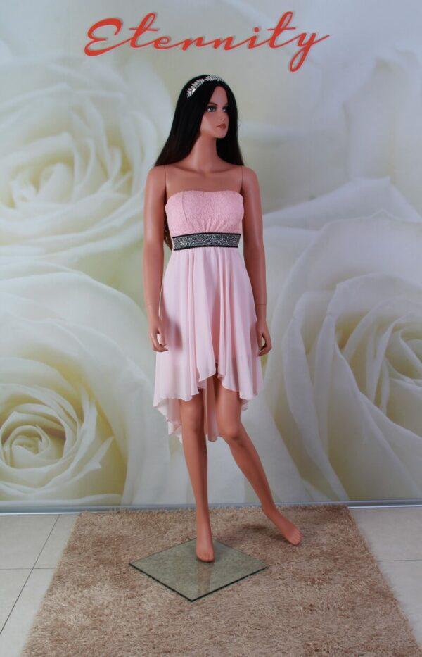 Rózsaszín, chiffon és csipke, high-low, alkalmi ruha, koszorúslány ruha