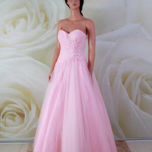 Rózsaszín, A-vonalú alkalmi ruha, csipke díszítéssel