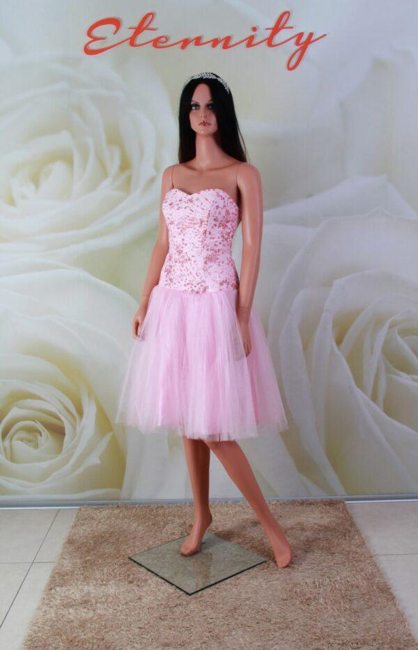 Rózsaszín, tüll alkalmi ruha, koszorúslány ruha