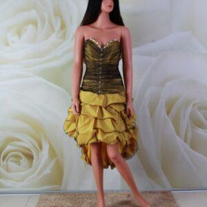 Sárga-fekete alkalmi ruha kristály díszítéssel