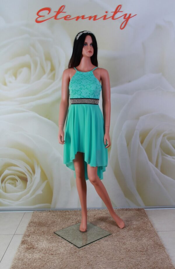 Zöld, high-low csipke és chiffon alkalmi ruha, koszorúslány ruha