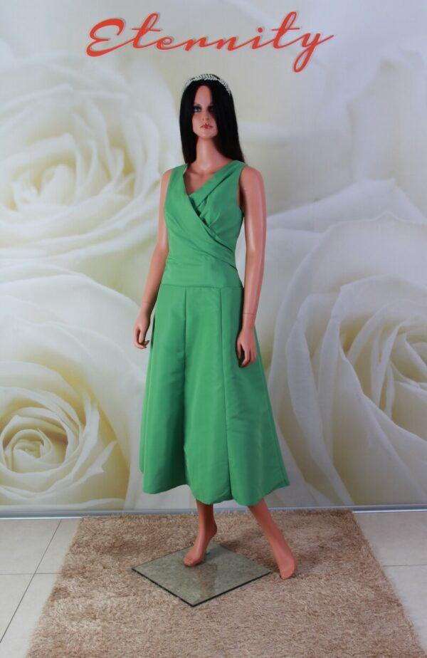 Zöld, vállpántos, alkalmi ruha, koszorúslány ruha