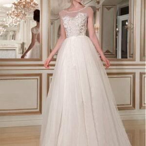 3d virágos zárt tüll menyasszonyi ruha