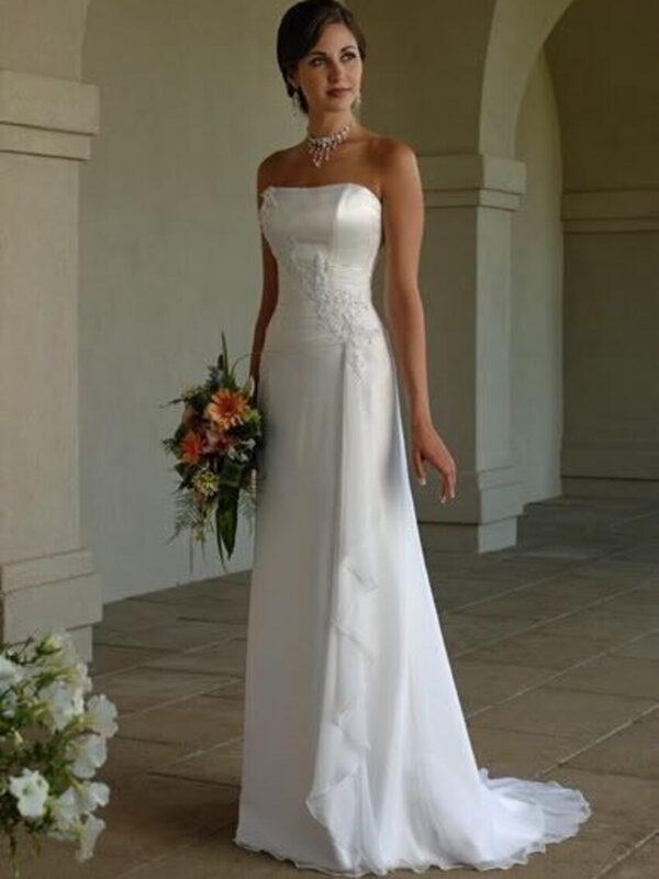 Chiffon egyenes menyasszonyi ruha 1