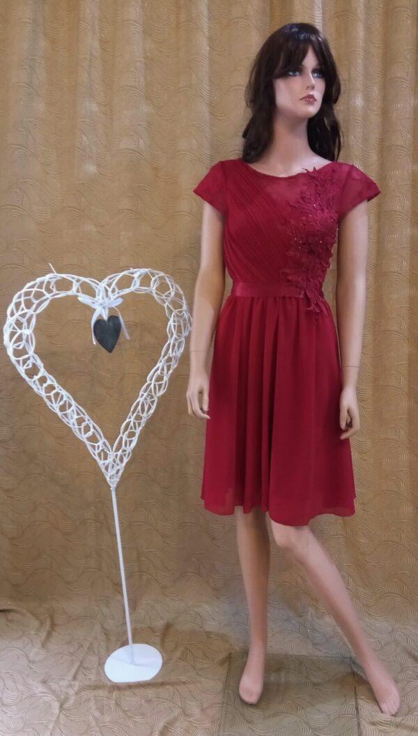 Bordó chiffon rövid menyecske ruha